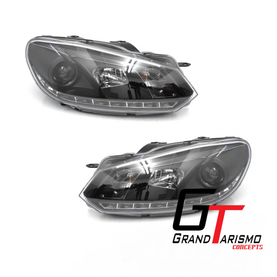 VW-Mk6-Black-Projector-Headlights-With-DRLW